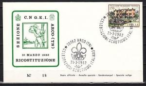 Italy, 21/MAR/82 issue. Italian Scout Anniversary cancel on a Cachet cover.