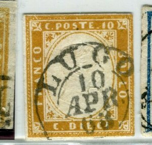 ITALY SARDINIA; 1855 classic Imperf issue used SHADE of 10c. value + POSTMARK