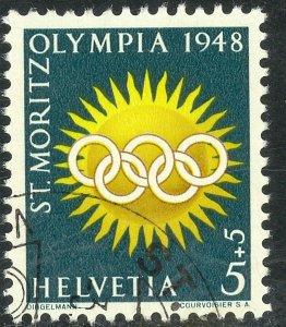 SWITZERLAND 1948 5c+5c OLYMPICS Semi Postal Sc B170 VFU