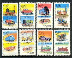 STATE OF OMAN 1973 LOCOMOTIVE TRAINS And AUTOMOBILE Cinderella Set MNH