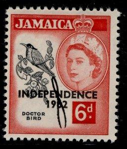 JAMAICA QEII SG186, 6d black & deep rose-red, NH MINT.