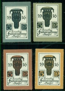 GERMANY 1916 Official War Welfare Labels, issue for Speyer set of 4, diff colors