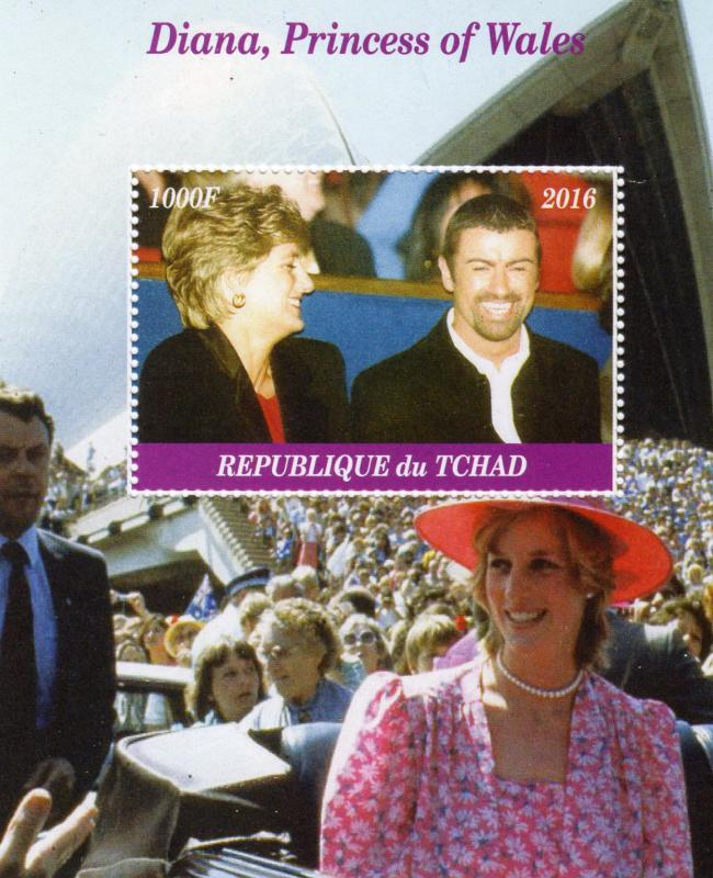 Chad 2016 Princess Diana & George Michael S/S Perforated MNH