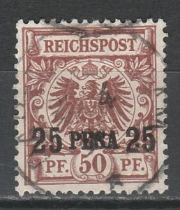 GERMAN EAST AFRICA 1893 EAGLE 25 PESA ON 50PF USED