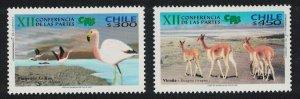 Chile Birds Flamingos Vicuna Endangered Species 2v SG#2062-2063 MI#2083-2084