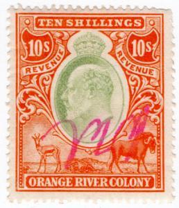 (I.B) Orange River Colony Revenue : Duty Stamp 10/-