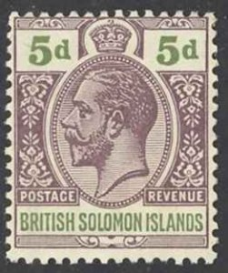 Solomon Islands Sc# 34 MH 1914-1923 5p KGV Inscribed Postage-Revenue