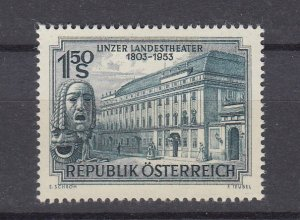 J29518,  1953  austria set of 1 mh #589 theater