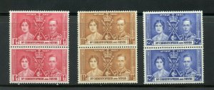 ST. KITTS & NEVIS CORONATION OF GEORGE VI 1937 SC# 76-9 MINT NH PAIRS AS SHOWN