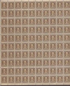 US Stamp - 1932 1/2c Washington Bicentennial - 100 Stamp Sheet w/Small Tear #704