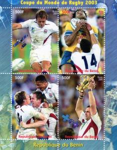 Benin 2003 Rugby World Cup 2003-Space Shlt(4)Perf.# Ben1/4C
