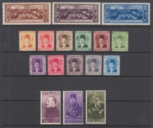 Egypt Sc 203//253 MNH. 1937-50 issues, 5 complete sets, fresh, bright