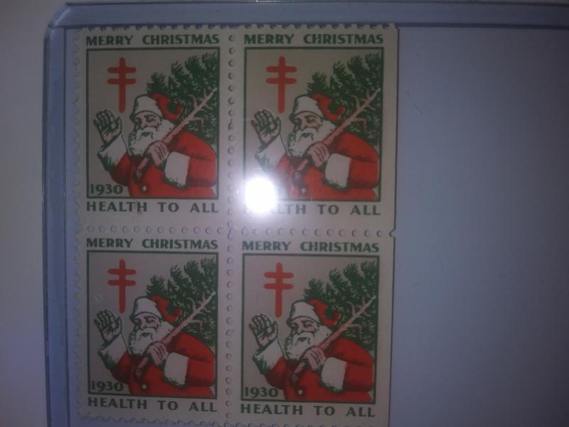 1930 CHRISTMAS SEALS BLOCK OF 4 MINT NEVER HINGED GEM !! GREAT FIND !!