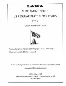 2019 US REGULAR PLATE BLOCK SUPPLEMENT – LAWA Album Pages