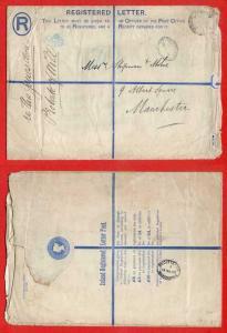 RP14 QV 2d Blue Registered Envelope  Size I Uprated Stamp Removed