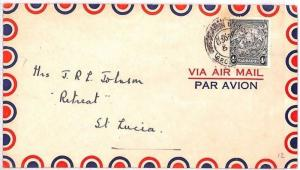 BN170 1946 Barbados 4d Rate Commercial Airmail Cover St.Lucia BANKING