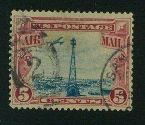 US 1928 5c carmine & blue Air Mail, Scott C11 used, Value = 85c