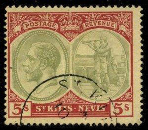 St Kitts-Nevis 1920 5/ George V Sc# 34 used