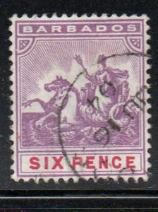 Barbados Sc 76 1892 6d violet & carmine seal of colony stamp used