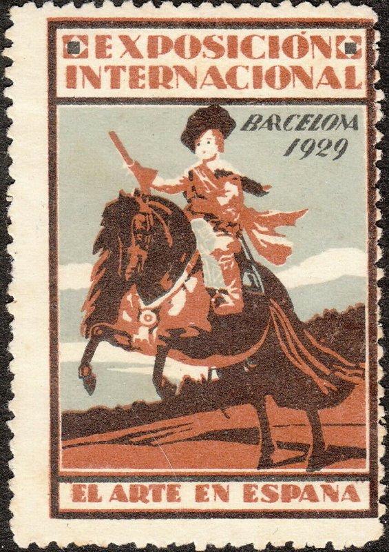 Stamp Label Spain Exposition 1929 Poster Cinderella Barcelona International MNH