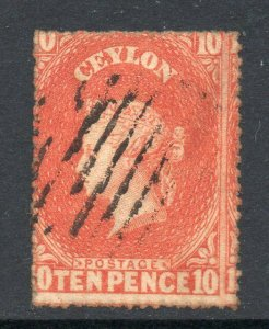 Ceylon 1861 10d Bozza Perf 14-15 ½ Wmk Star Sg 34 Usato