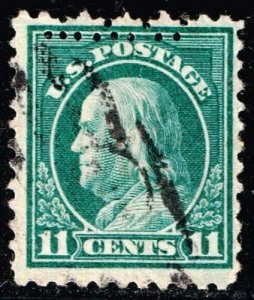 US STAMP #511 – 1917 11c Franklin, light green DOUBLE PERF ERROR USED STAMP