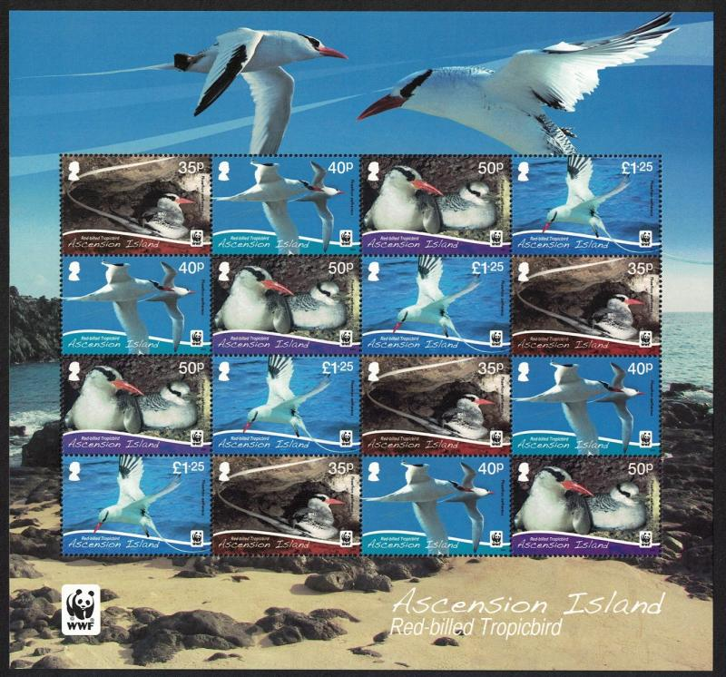 Ascension WWF Red-billed Tropicbird Sheetlet of 16v SG#1155-58