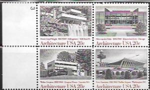 US #2019-22 MNH Plate Block. Architecture
