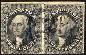 1851 US Stamp #17 A16 12c Used Pair Catalogue Value $575