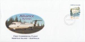 Norfolk Island 2002 1st Commercial Flight Alliance Airlines to Australia Sc #...