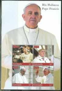 GRENADA 2014 HIS HOLINESS  POPE FRANCIS SHEET II  MINT NH