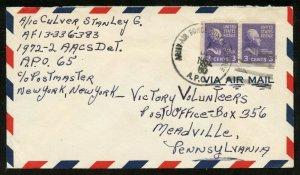 U.S. Scott 807 Booklet Pair Prexies/Prexys on APO Air Mail Cover