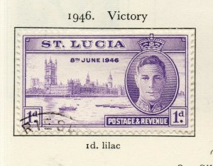 St Lucia 1946 GVI Early Issue Fine Used 1d. NW-154984