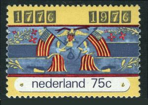 Netherlands 557,MNH.American Bicent.Women & American Flags.American Eagle,1976