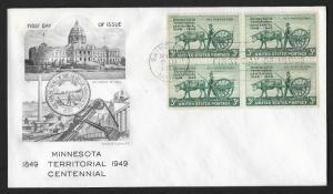 UNITED STATES FDC 3¢ Minnesota Territory Centennial BLOCK 1949 Smartcraft