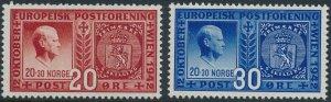 Stamp Norway Sc 253-4 1942 WWII Quisling War Adolf War Germany Traitor MNH