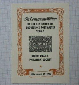 1946 Providence RI Postmaster Stamp Philatelic Souvenir Label AD