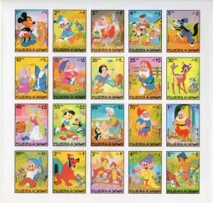 Fujeira 1972  Disney Sheetlet  (20) IMPERFORATED  MNH Unfolded Mi # 916/35