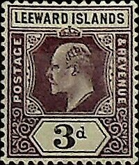 Leeward Islands 1902 3d SG 24 * MH (002803)