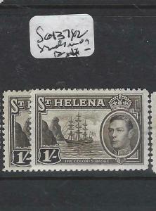 ST HELENA  (P0406B)  KGVI  BOAT  1/-  SG 137 X2 SHADES     MOG