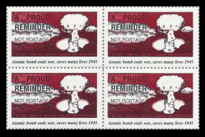 ATOMIC BOMB Stamps, Block of 4 - CINDERELLAS, VF MINT NH