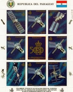 Paraguay 1999 COLUMBUS SPACE STATION ESA Mini-Sheet + Labels Perforated Mint (NH