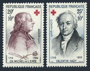 France B337-B338,MNH.Michel 1270-1271. Charles Michel de l'Epee,Valentin Hauy.
