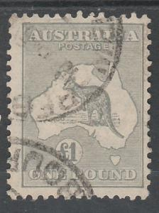 AUSTRALIA 1931 KANGAROO 1 POUND C OF A WMK USED