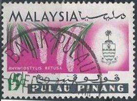 Malaya: Penang 72 (used) 15c foxtail orchid (Rhyncostylis retusa) & state crest