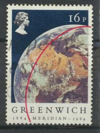 Great Britain SG 1254 - Used dark blue sky shade - Greenwich Meridian