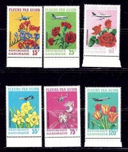 Gabon C109-11 MNH 1971 Flowers and Planes 6 values    (ap2027)