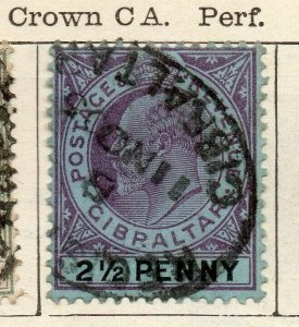 Gibraltar 1903 Early Issue Fine Used 2.5d. NW-114709