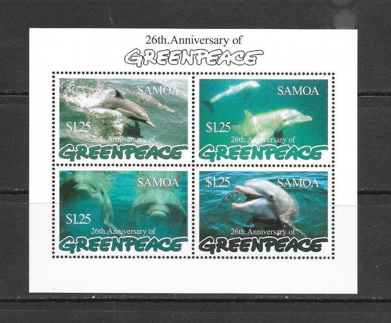 Samoa MNH S/S 947 Dolphins Marine Life Greenpeace 1997