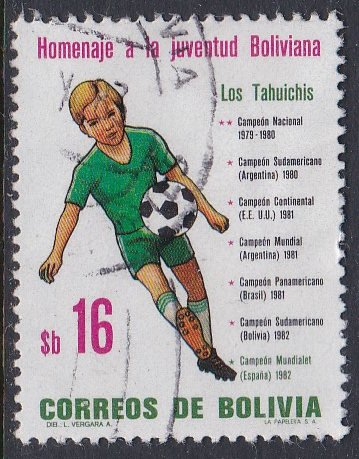 Bolivia #677 F-VF Used Boy Playing Soccer
